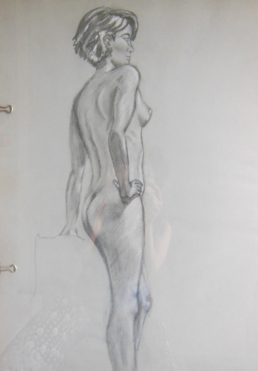 Charcoal and pastel on grey paper by Jane A