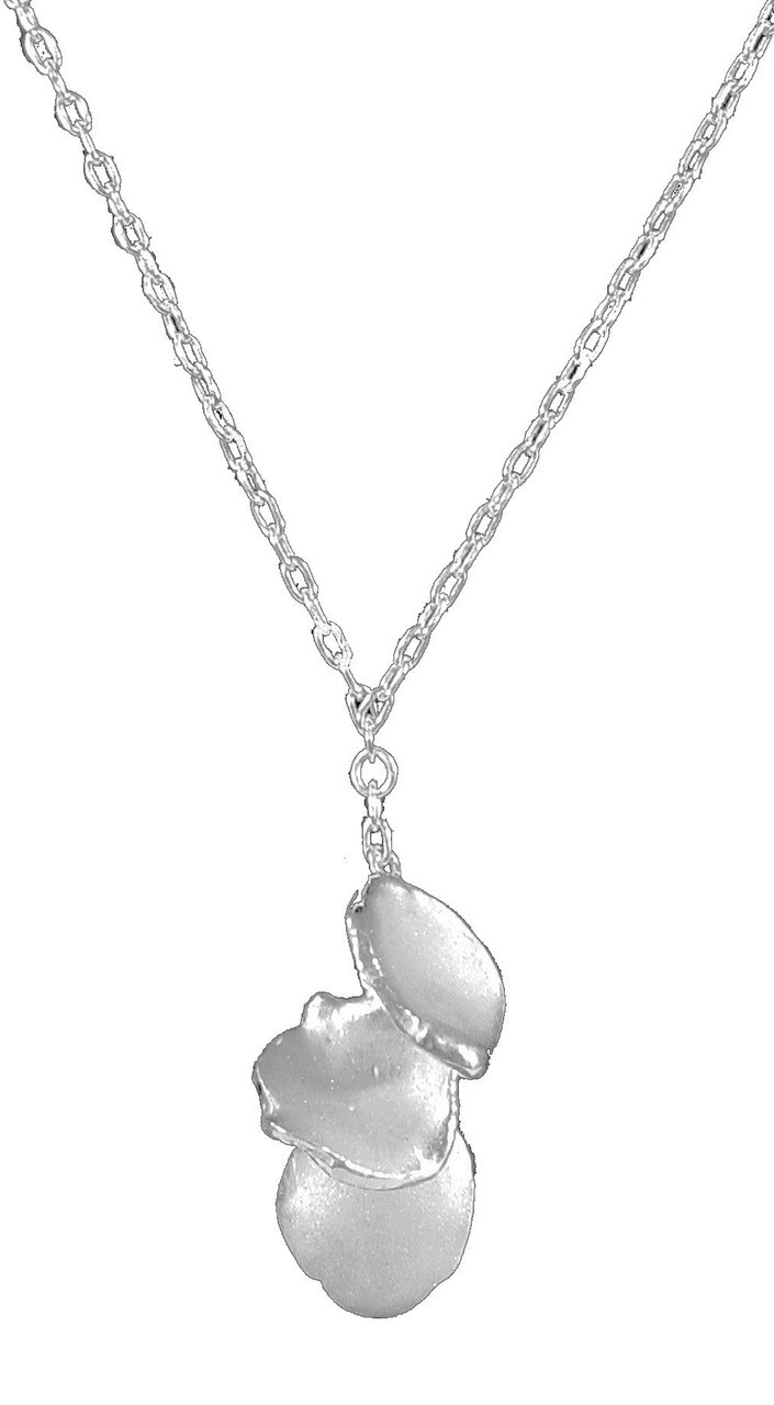 Metal Petals: 3 Petal Necklace-Sterling with plate options