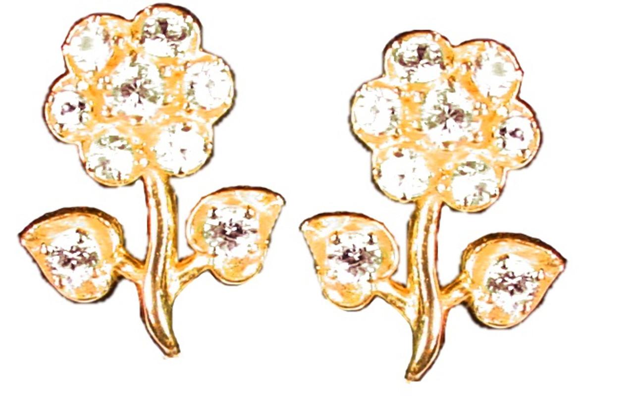 Stem Flower Earrings-14K and diamonds