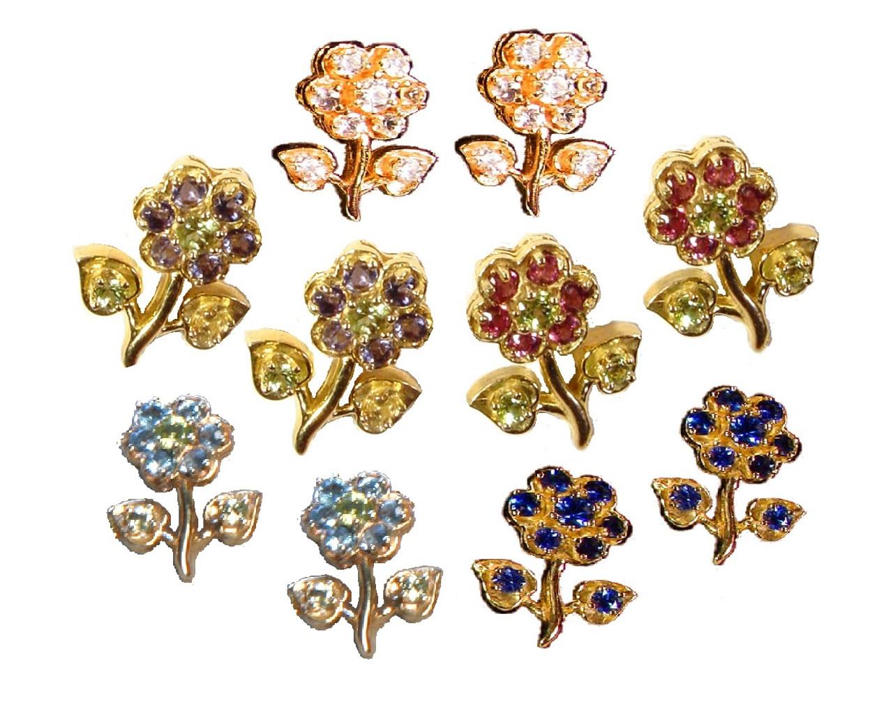 Stem Flower Earrings-18K and semi precious stones
