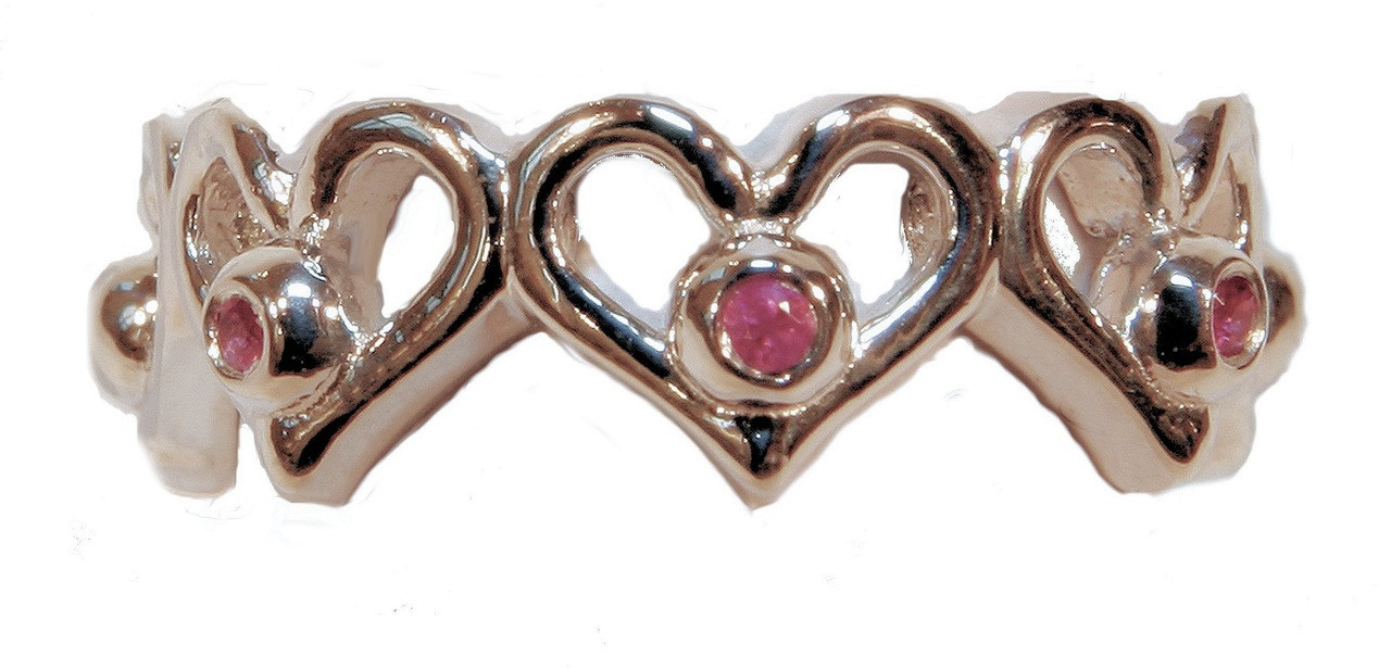 Heart Stacking Ring- Shown in sterling silver with pink sapphires