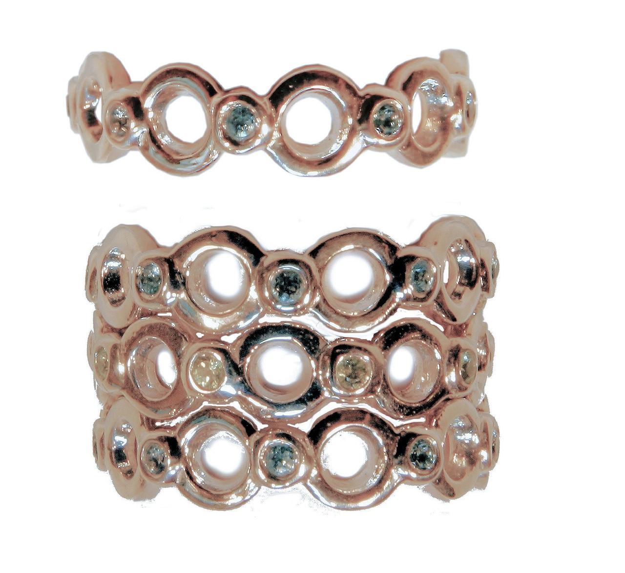 Circle Dot Stacking Ring - Sterling silver- shown in semi precious gemstones