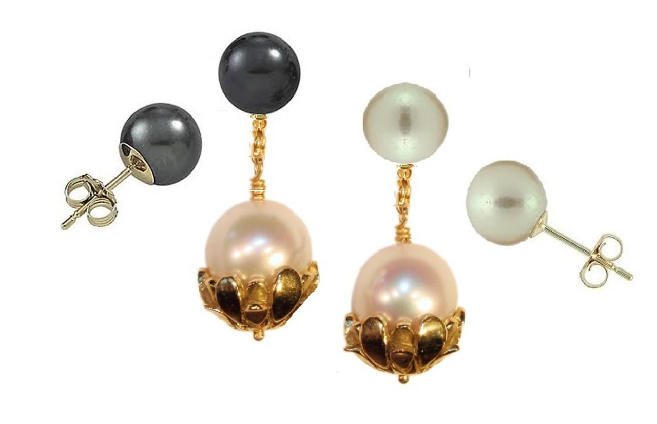 Pearl Drop Earrings-Flower caps in 14K gold with pearls.