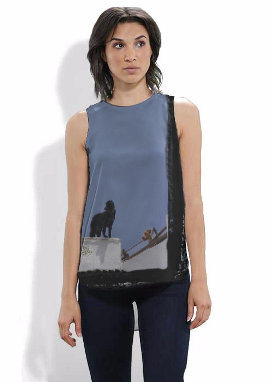 Silk sleeveless shirt. Art meets Fashion. Dogs on a Wall in Santorini, Greece