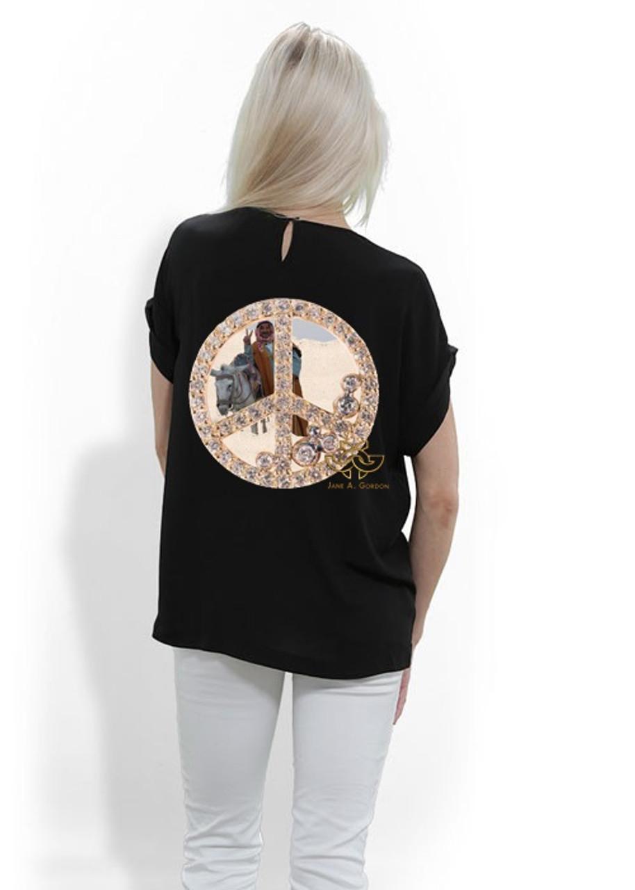 Silk tee shirt. Art meets Fashion. Peace inside Peace, Cairo Egypt