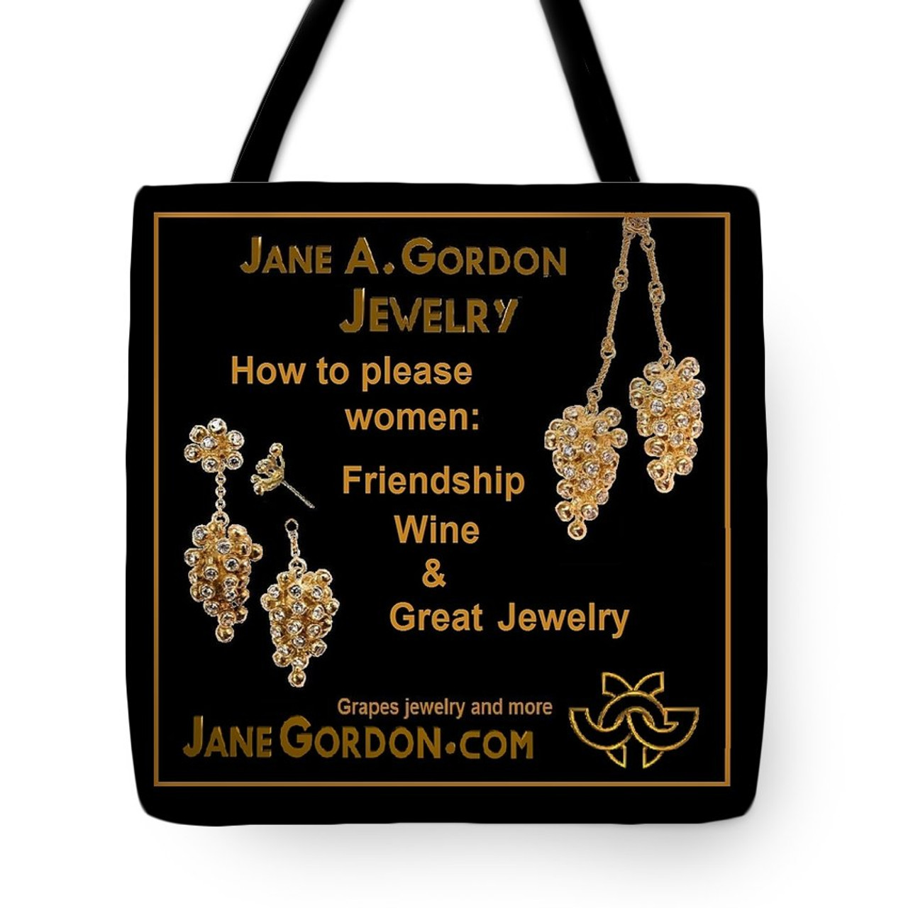 """""""How to Please Women""""  Grapes jewelry on artful tote bags: Art meets fashion."""