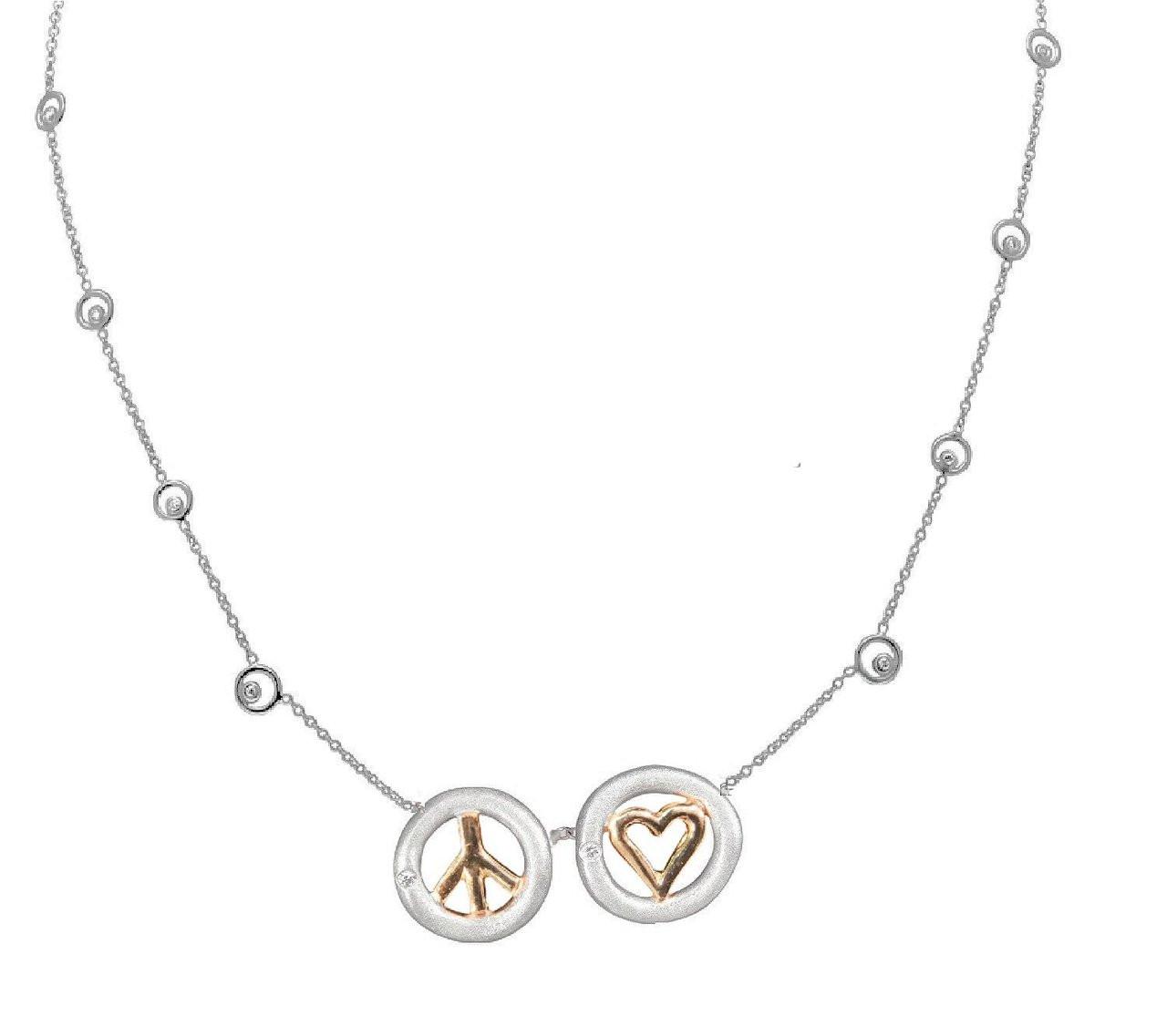 Peace & Love necklace 18k, sterling- silver dots of diamonds karma chain-Horizontal