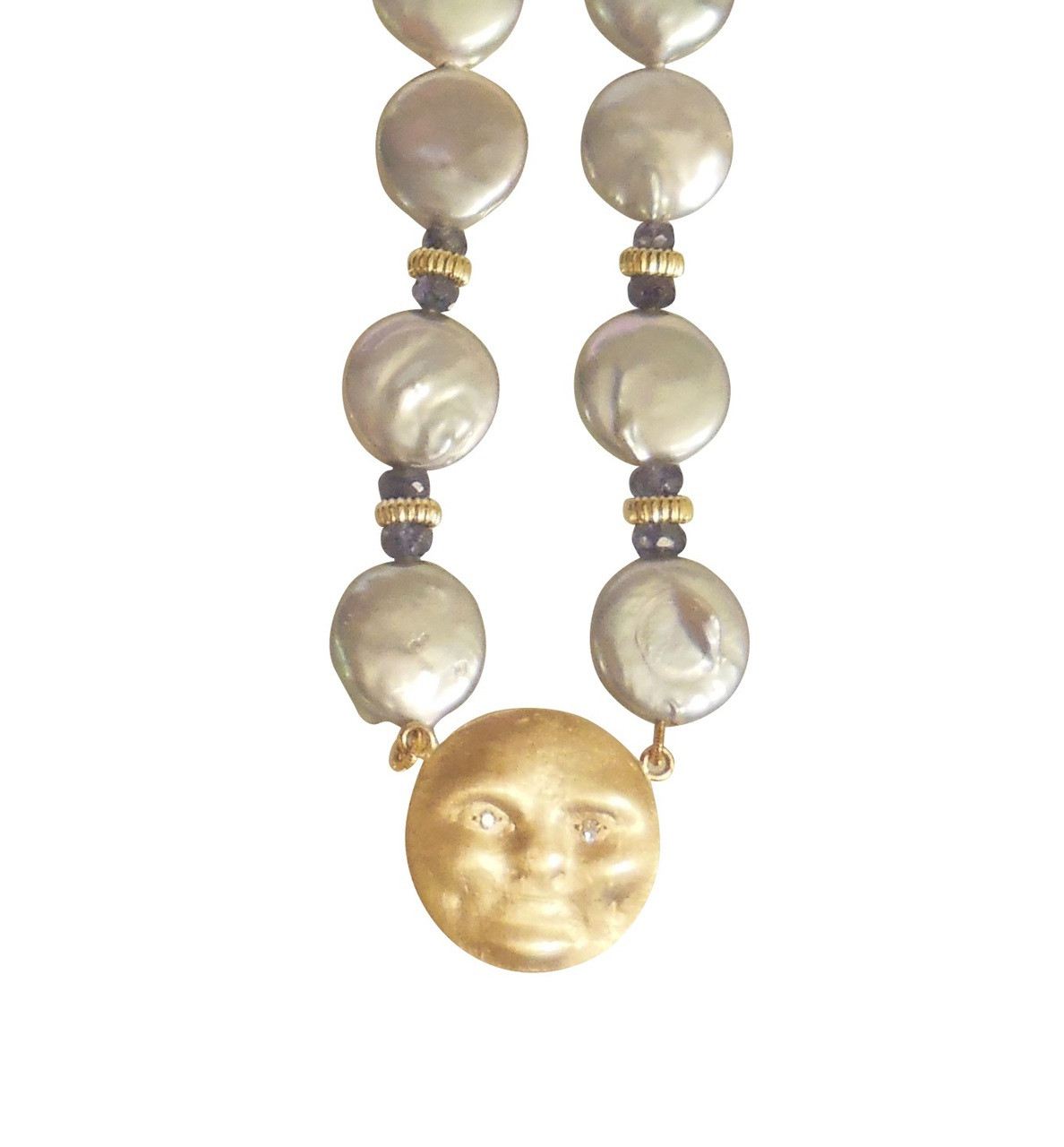 14K Gold Face, Diamond Eyes on coin pearl necklace with sapphires: small