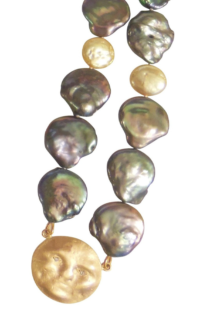 14K Face, Diamond Eyes on rainbow blackish & golden coin pearl necklace : small