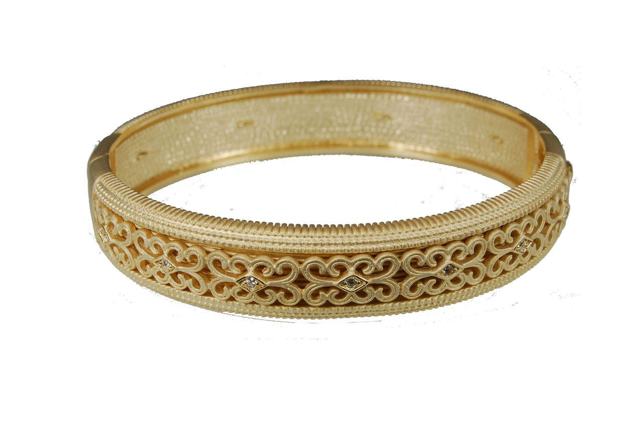 Elegant Gold & Sparkle-oval bangle in sterling silver, 18K plate & CZ