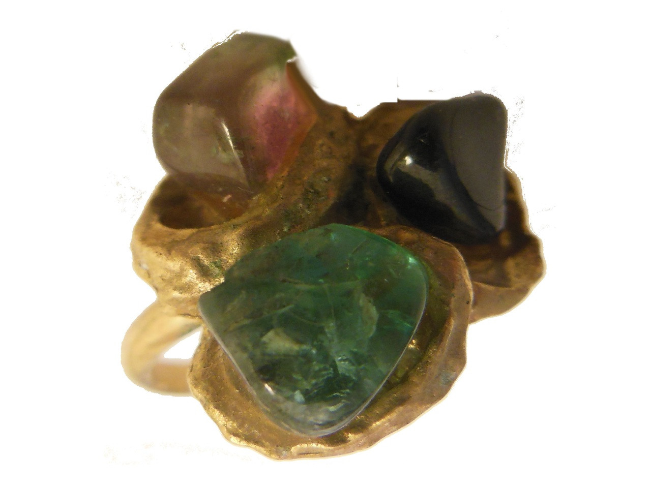 Vintage 3 Stone Ring: Watermelon, Green and Black Tourmaline