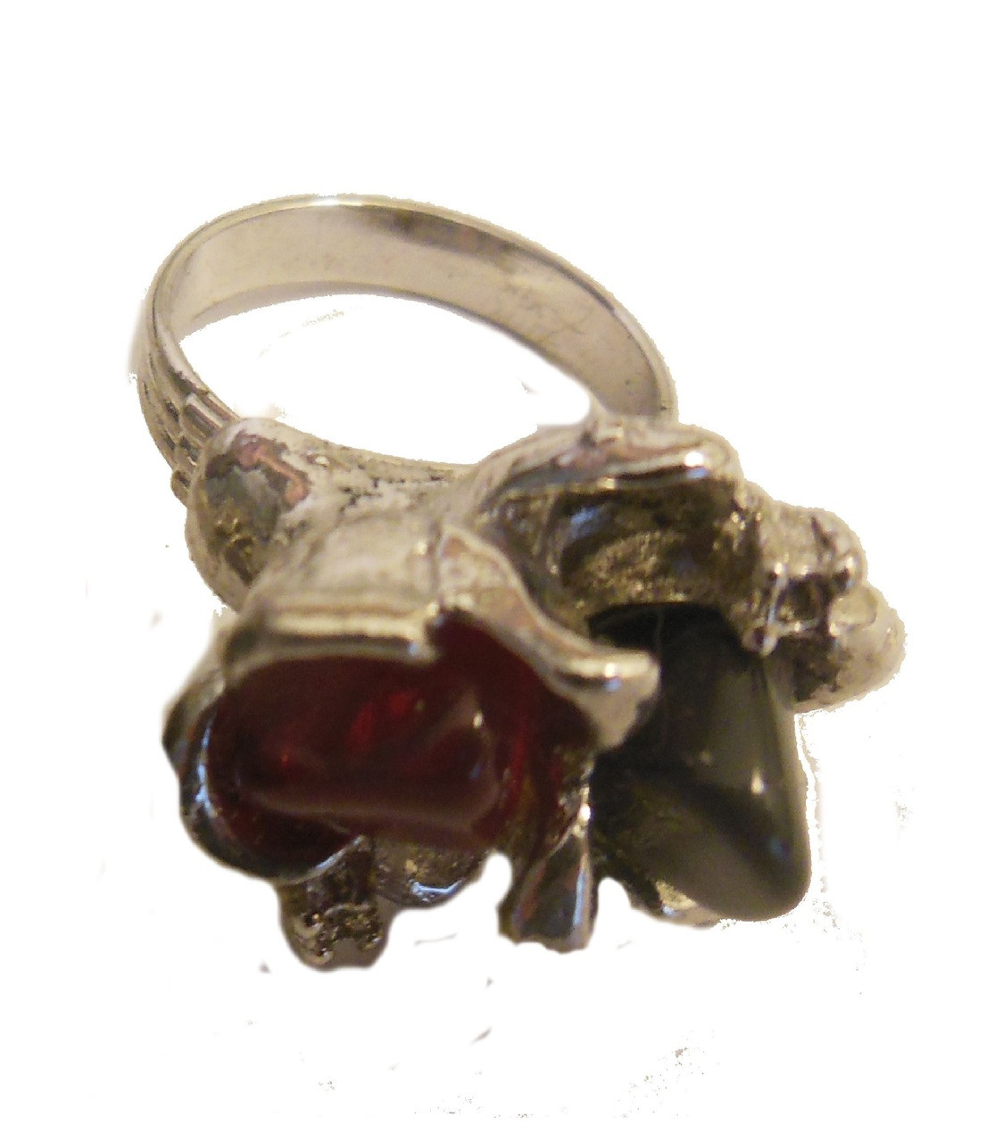 Vintage 2 Stone Ruffled Ring- Garnet and Tourmaline