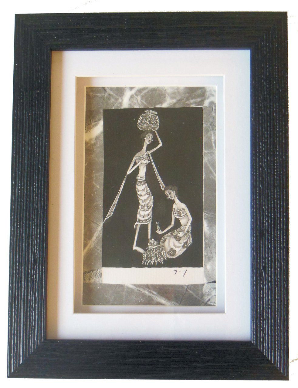 Two Women.  Pen and Ink from Bali, Framed.