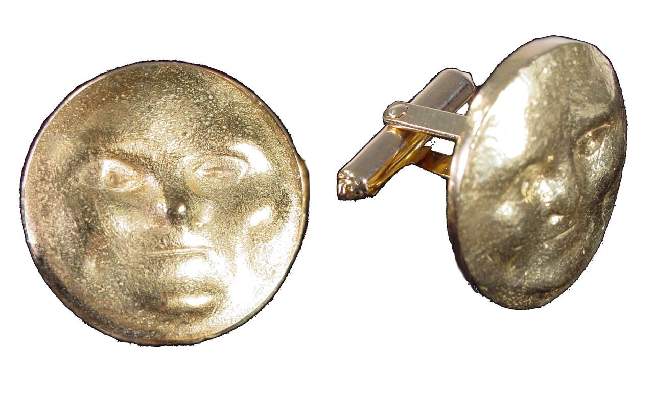 Someone to Watch Over Me-Sun/ Moon Cufflinks-18K gold with diamond eyes