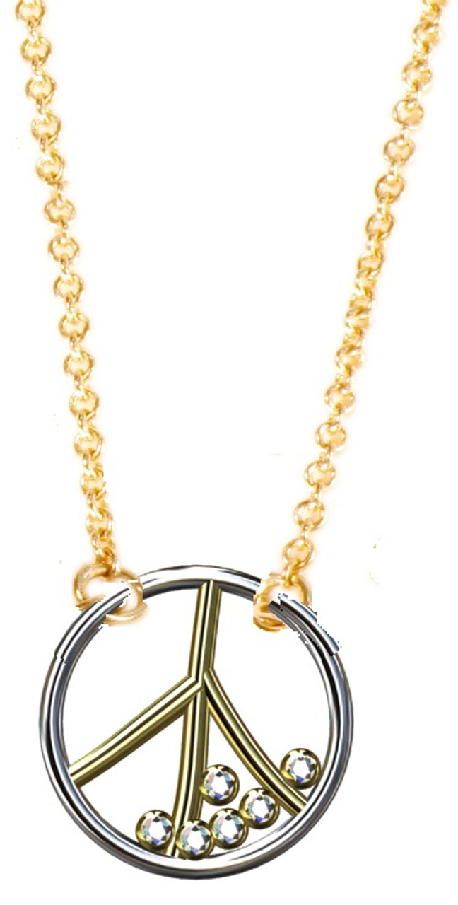 Peace Necklace, 18K yellow and white gold with diamonds, on 18K gold chain