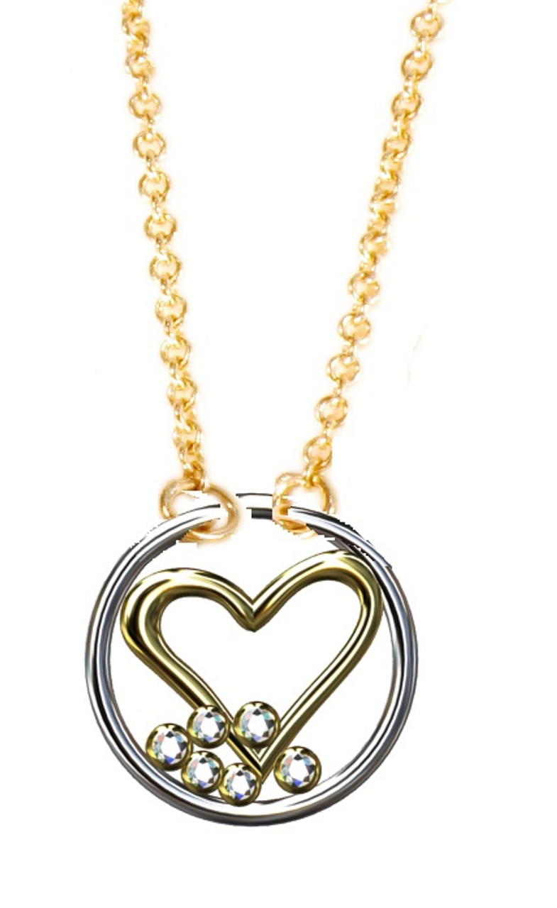 Love Necklace, 18K yellow and white gold with diamonds, on 18K gold chain