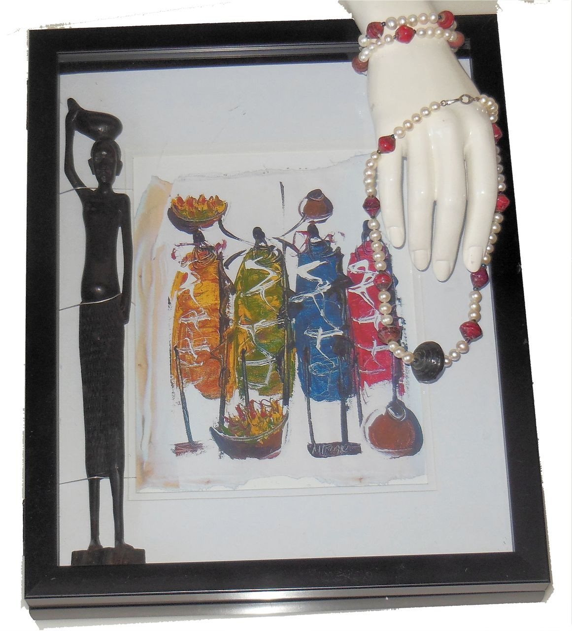 Crazy Mixed Media! Maasai Warriors Sculpture & Print in Shadow Box + Necklace/Bracelet in African Paper beads & Chinese pearls
