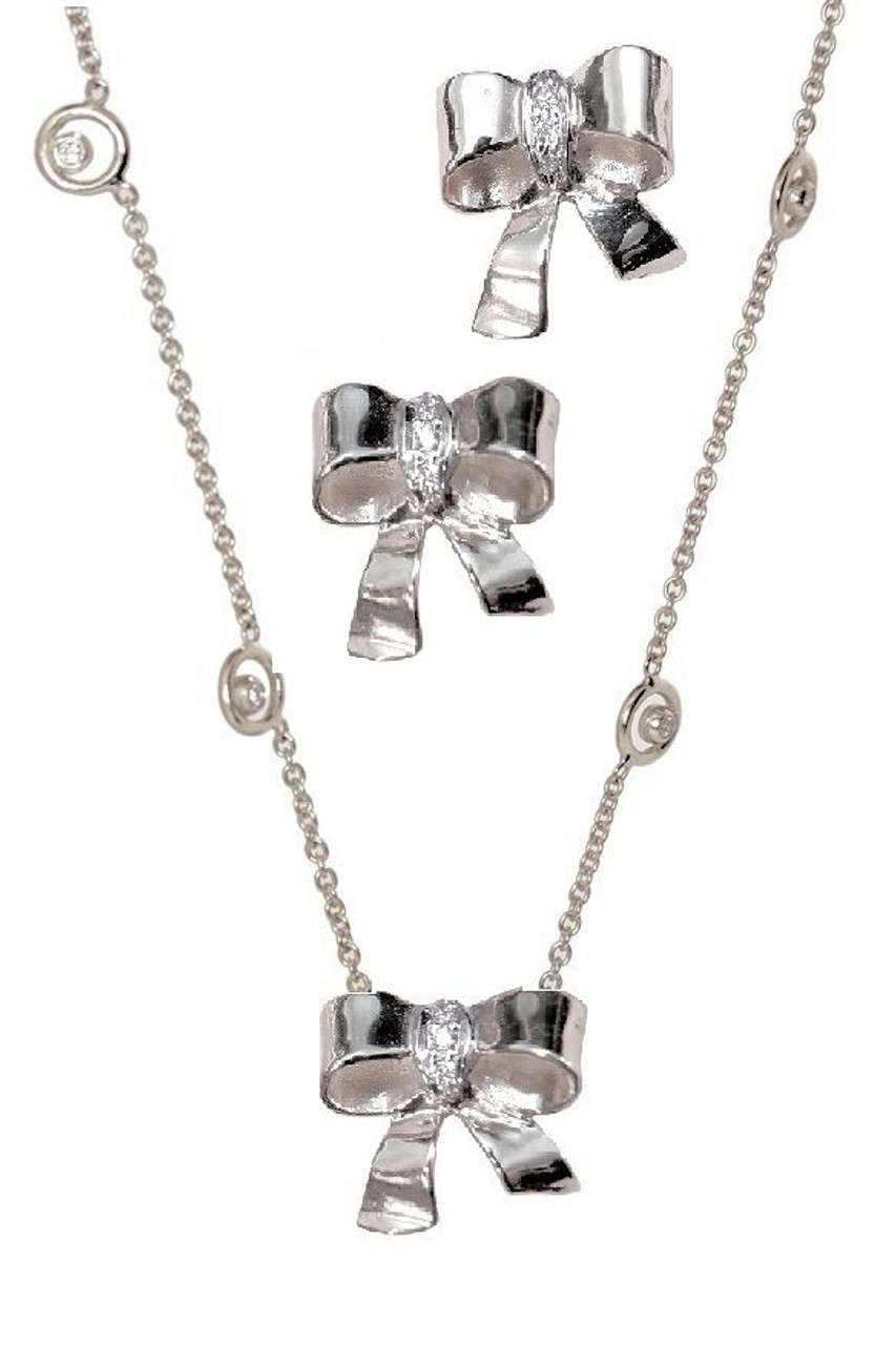 Bow Necklace-Sterling Silver with diamonds on Karma chain with diamond dots