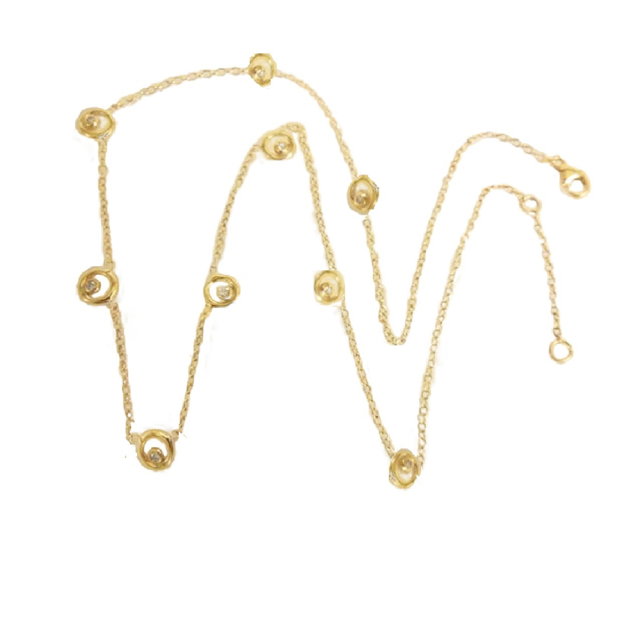 Karma Chain- 14K Gold with Ripples of Diamonds