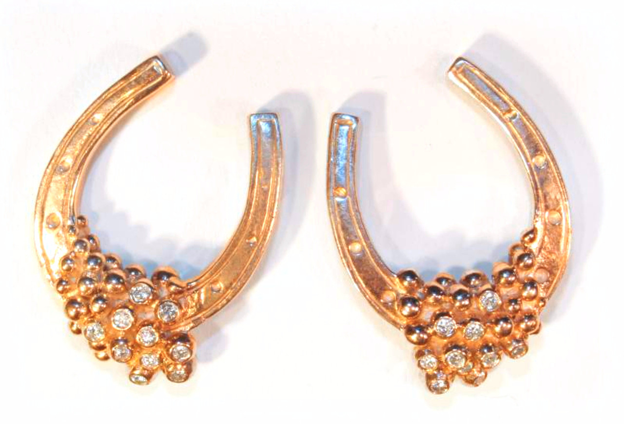 Equestrian-Lucky You Earrings-18k gold with diamonds