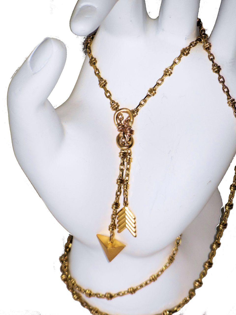 Infinity & Arrow Lariat Necklace- 18K gold