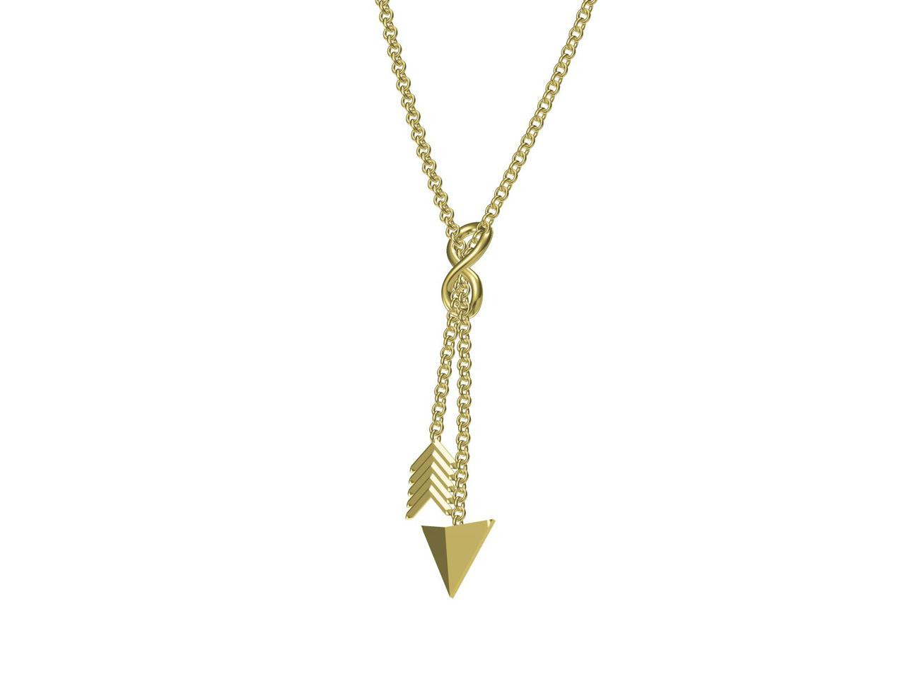 Infinity & Arrow Lariat Necklace- Sterling Silver