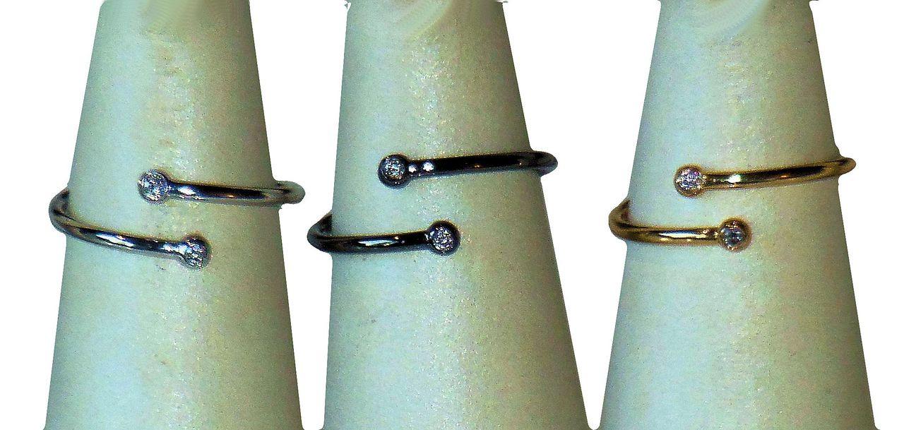 Diamond Dot Stacking Ring- 14K gold