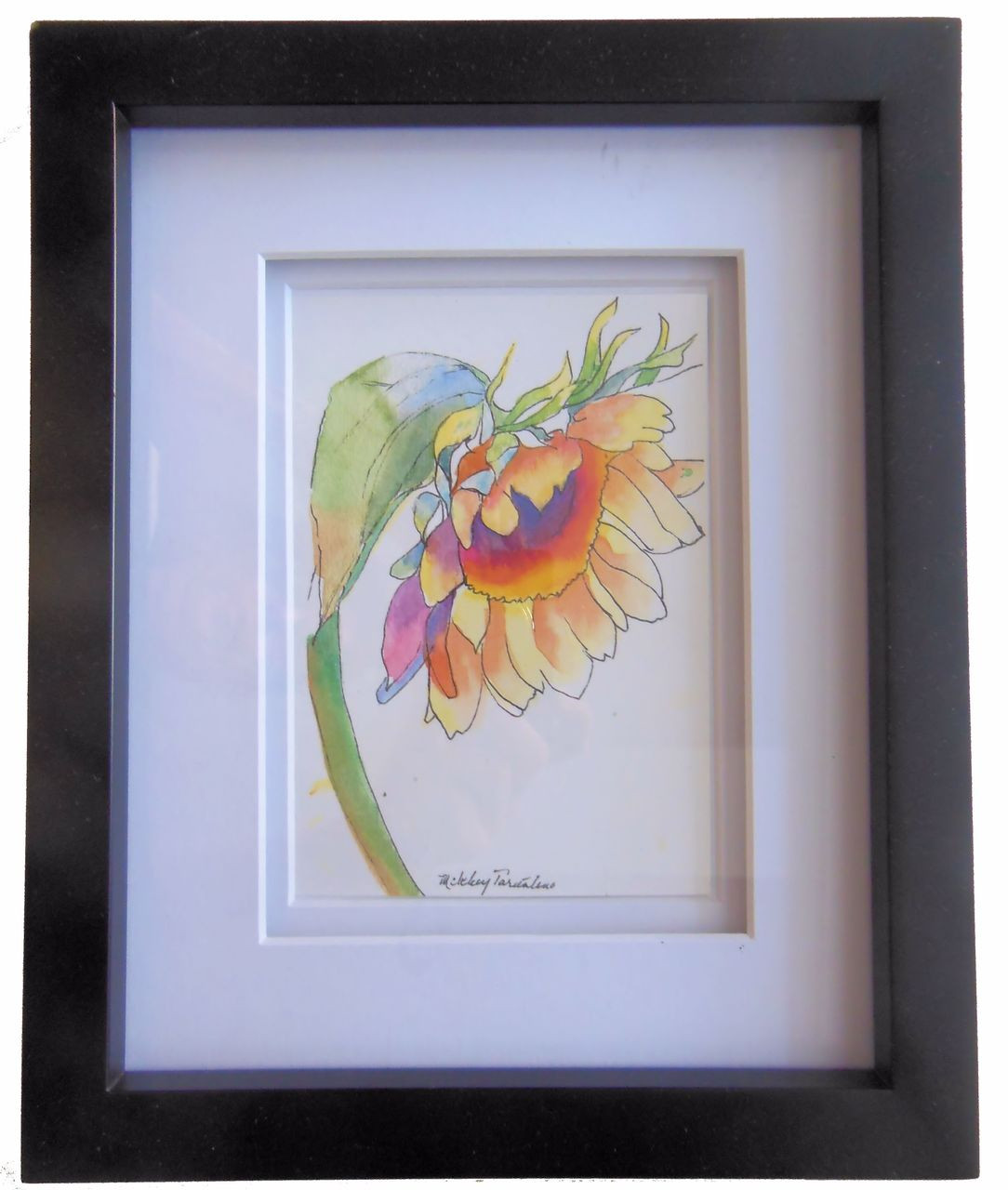 Watercolor Sunflower, signed, framed in multi layer matting.