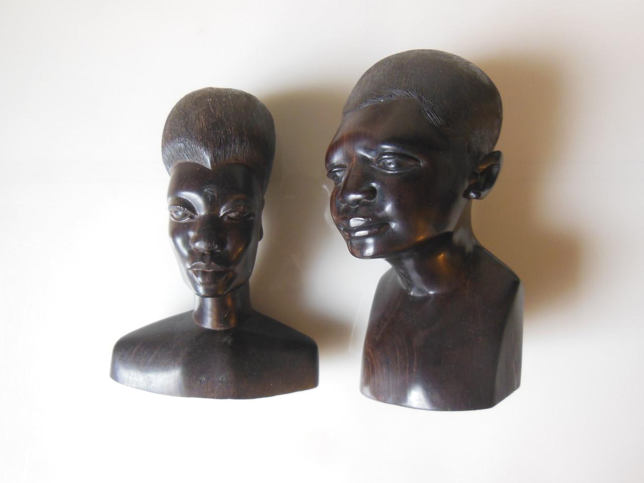 Captivating Faces - Vintage Mahogany Busts from Tanzania Mission, 1969