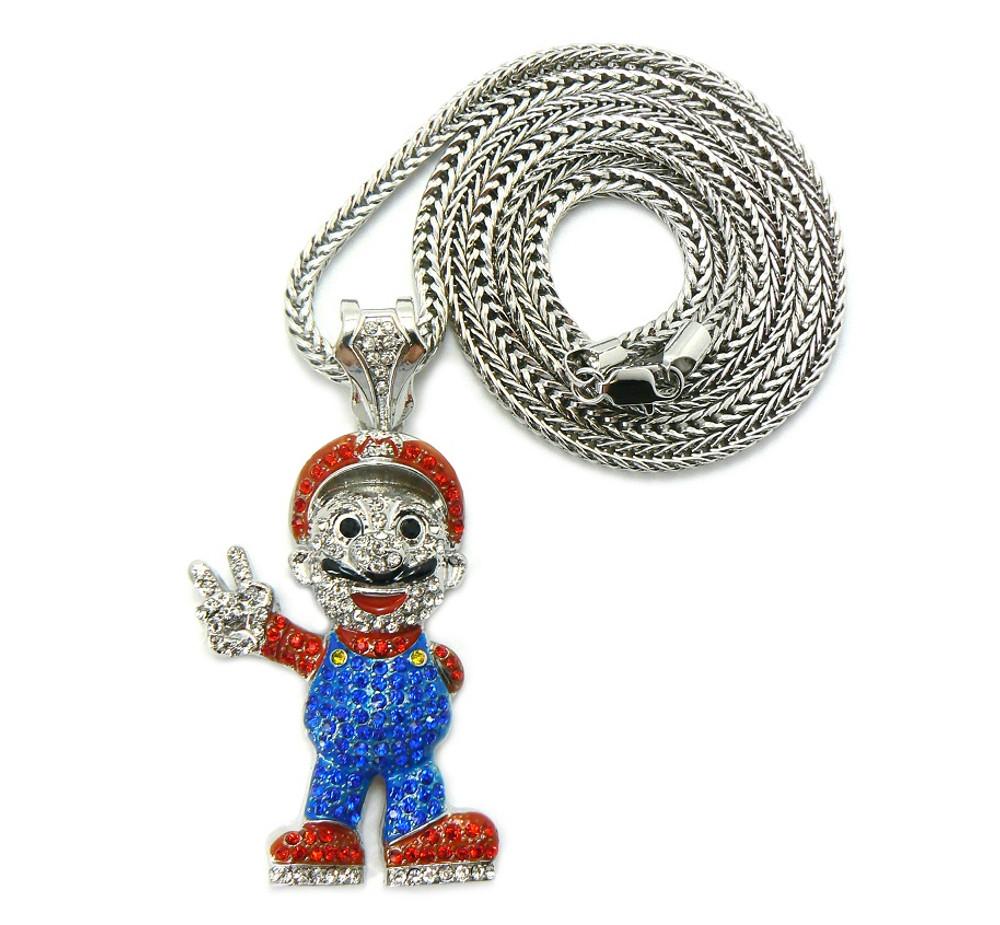 Mens mario inspired hip hop chain pendant silver bling jewelz mens mario inspired hip hop chain pendant silver aloadofball Images