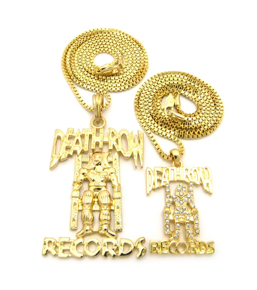 Hip hop micro double death row cz pendant chain necklace set gold aloadofball Choice Image