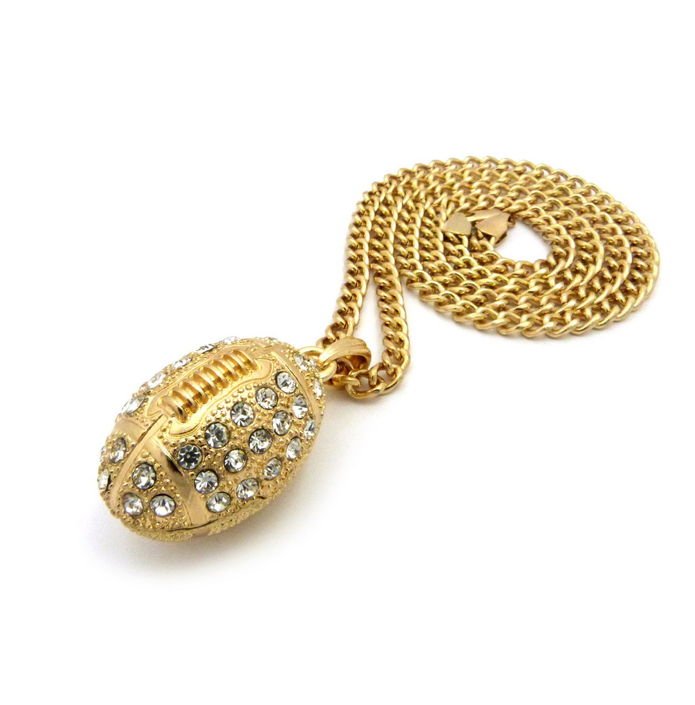 Mens diamond cz iced out football pendant cuban chain diamond cz iced out football pendant cuban chain 14k gold aloadofball Images