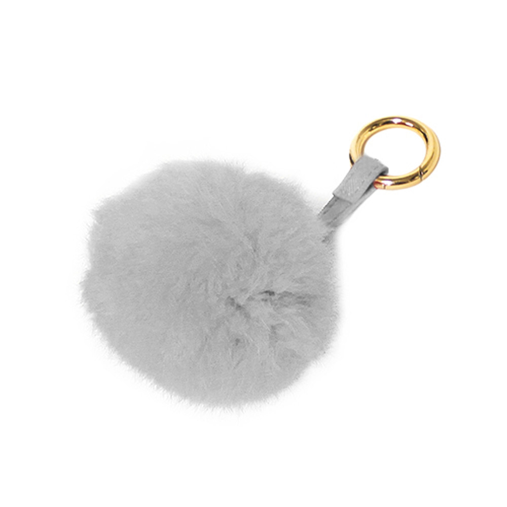 Ladies Pom Pom Gold Tip Key Chain Grey