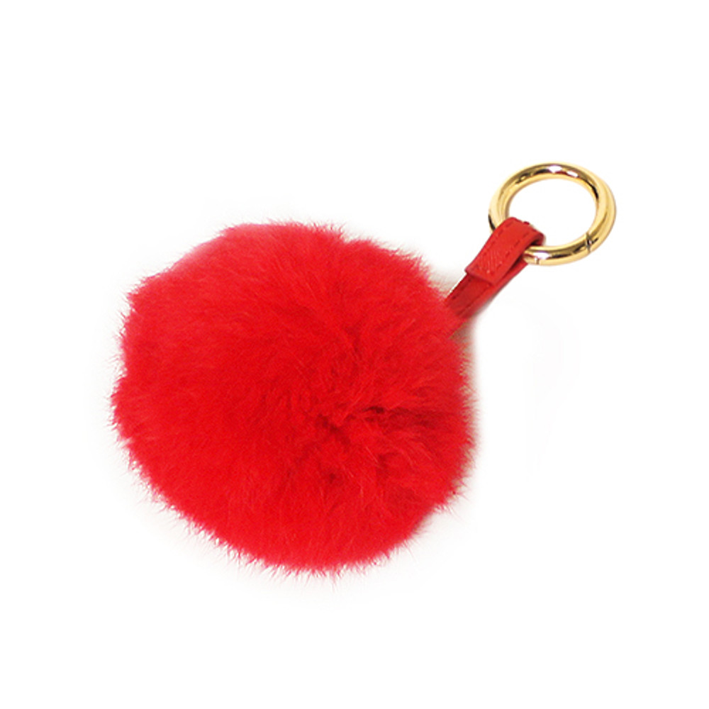 Ladies Pom Pom Gold Tip Key Chain Red