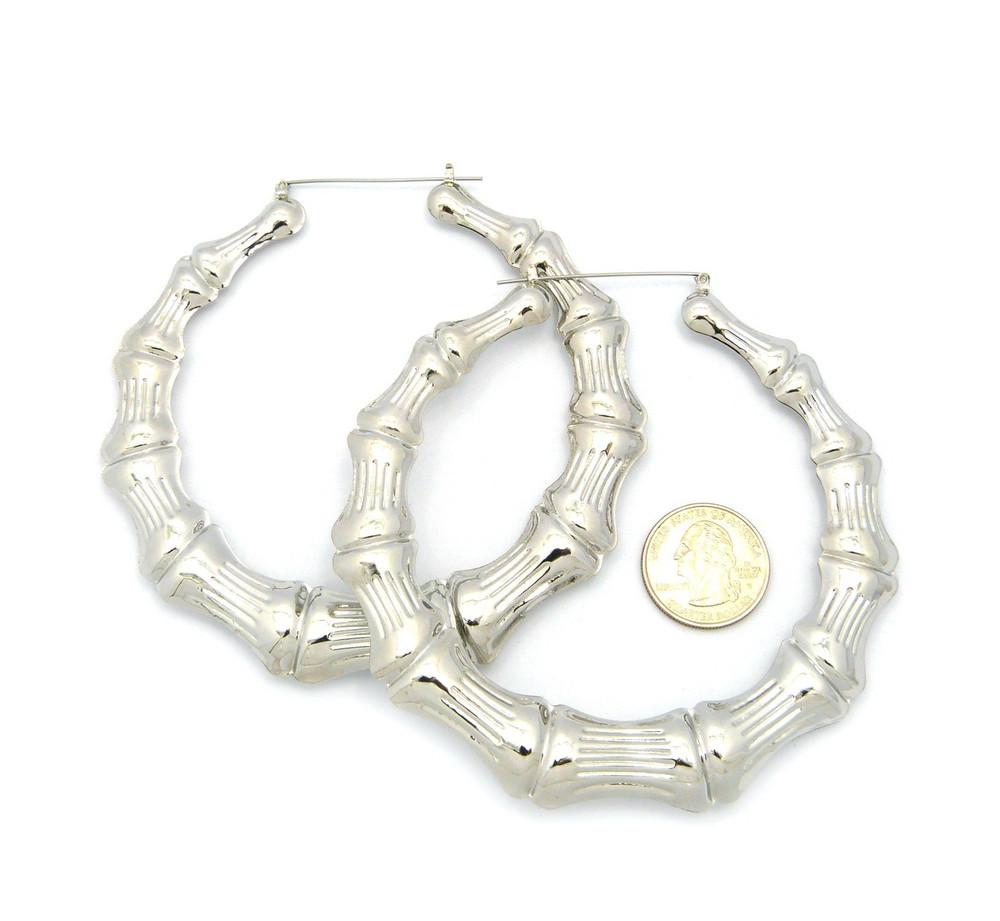 "Ladies Bamboo 4.15"" Orignal Lightweight Door Knocker Earrings Silver"