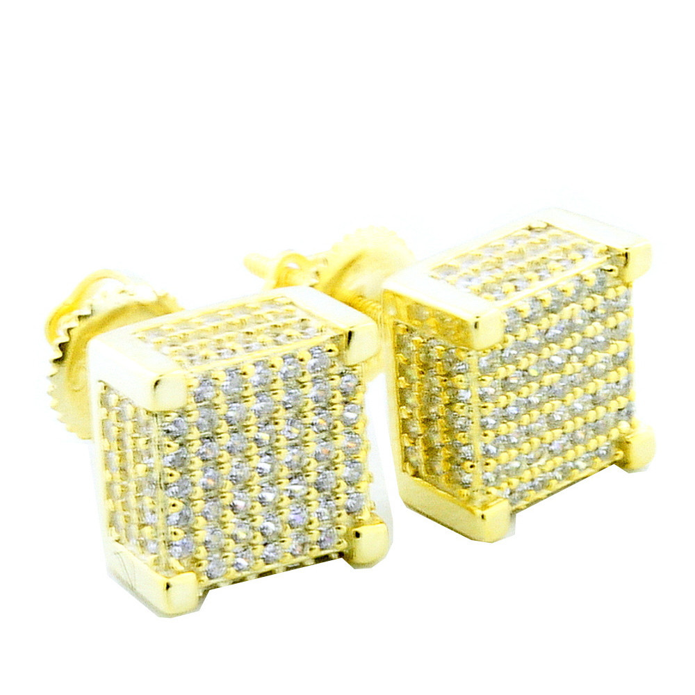 Hip Hop Fashion Cube Earrings Yellow Silver 10mm Large CZ