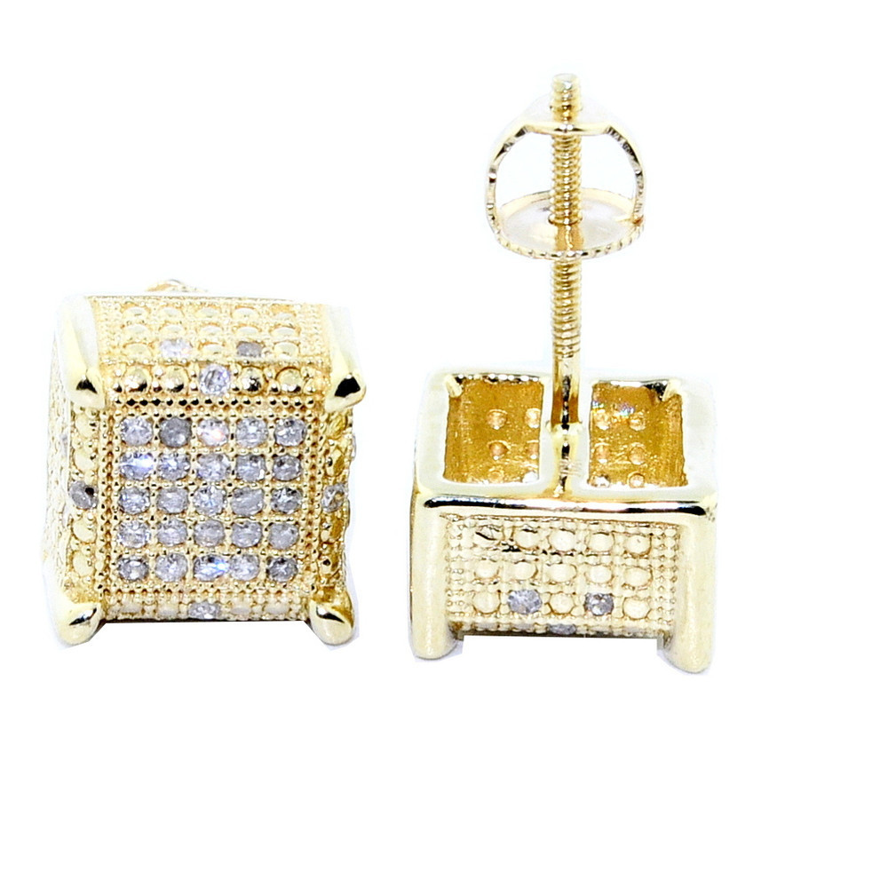 10K Yellow Gold Diamond Earrings 9mm Cube Shaped 0.3cttw
