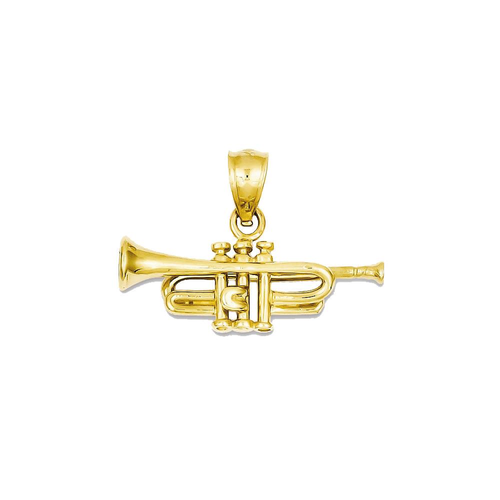 Bling Jewelz 14k Yellow Gold Trumpet 15mm Pendant