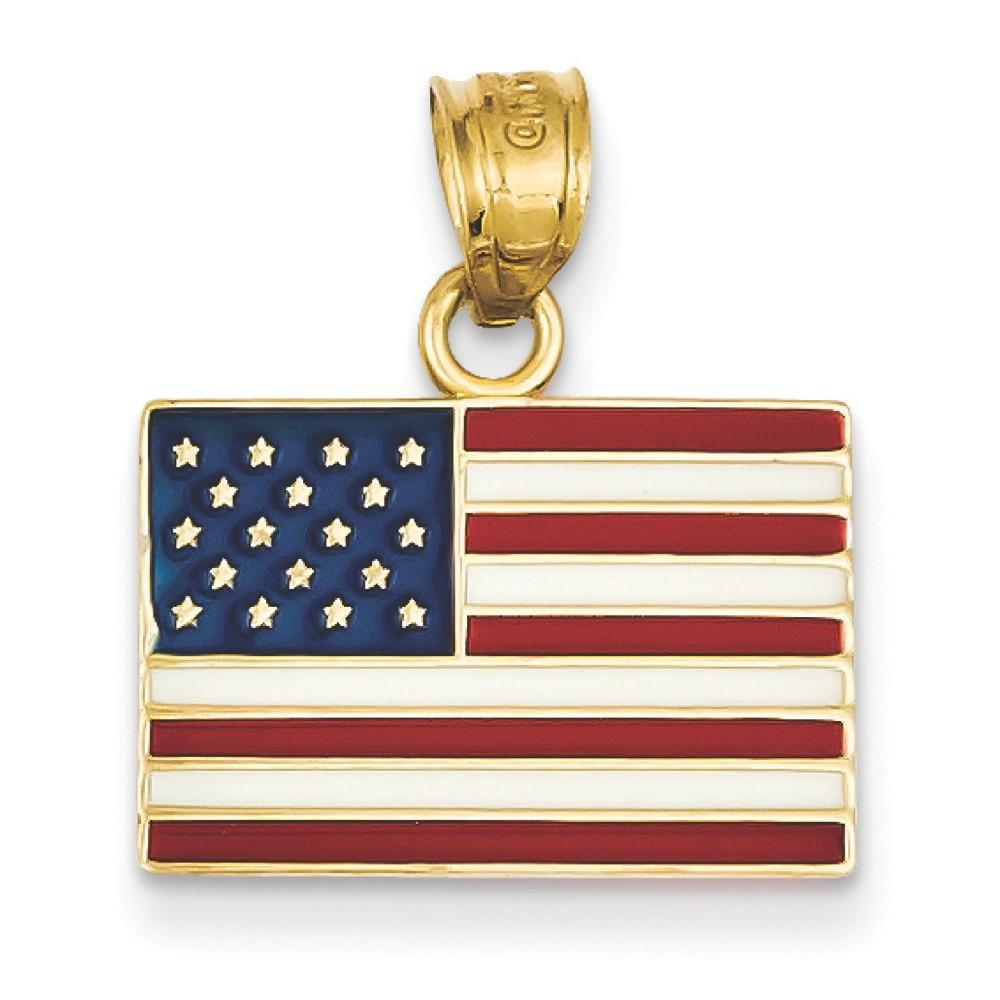 Bling Jewelz 14k Yellow Gold Red White Blue Enamel American Flag Pendant