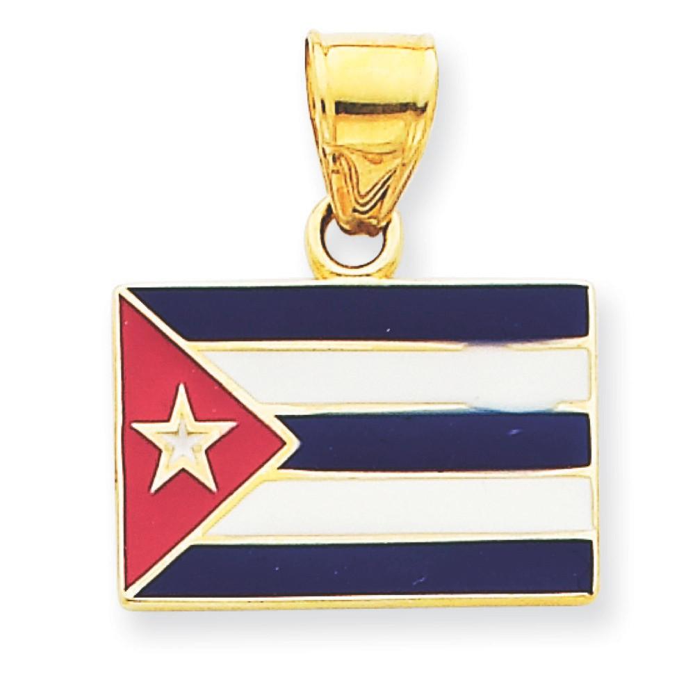 Bling Jewelz 14k Yellow Gold Blue and White Enamel Cuba Flag Charm Pendant