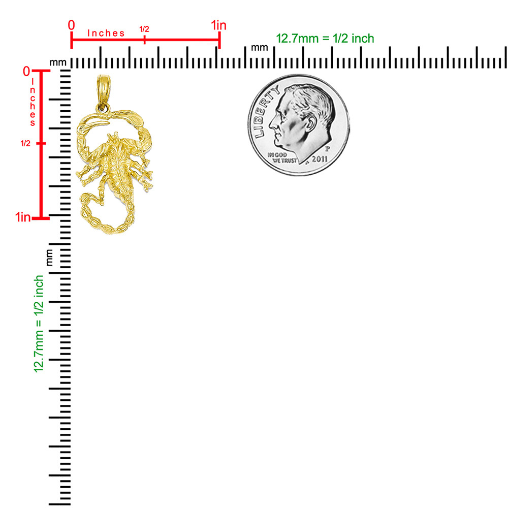 14k Yellow Gold Scorpio Zodiac Sign Bling Jewelz Pendant - 30mm