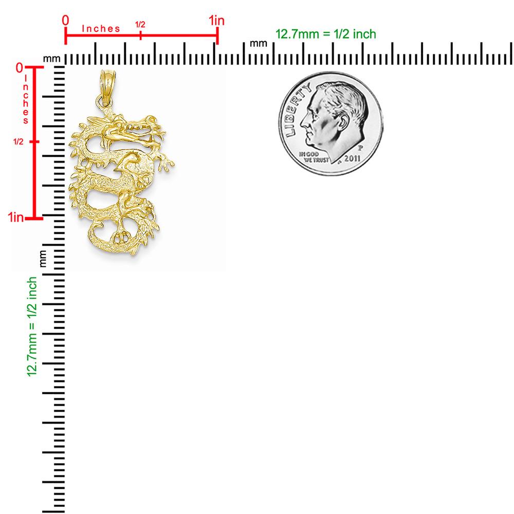Gold Fire Breathing Dragon Pendant
