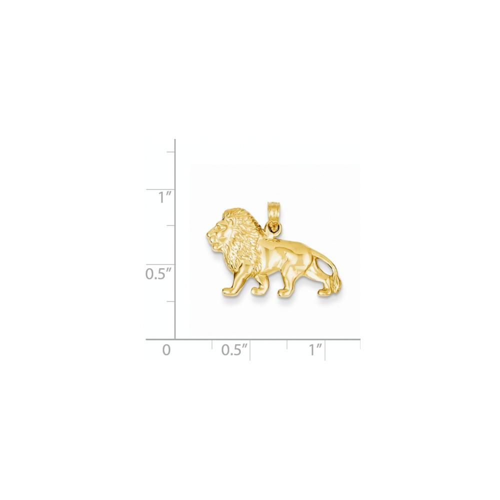 14k Solid Yellow Gold Walking Lion Pendant