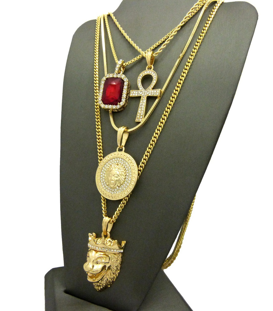14k Gold Ultra Baller Ankh Cross Good Vs Evil Medusa Pendant Set