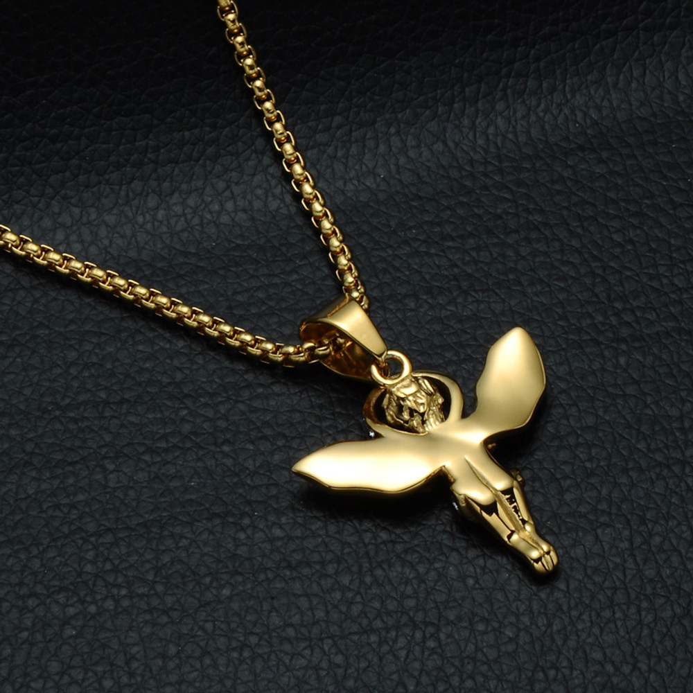 14k Gold Guardian Angel Halo Lab Diamond Hip Hop Pendant