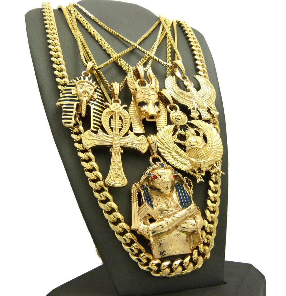 Kings Of Egypt Horus Bird King Tut Ultra Baller Pendant Chain Set