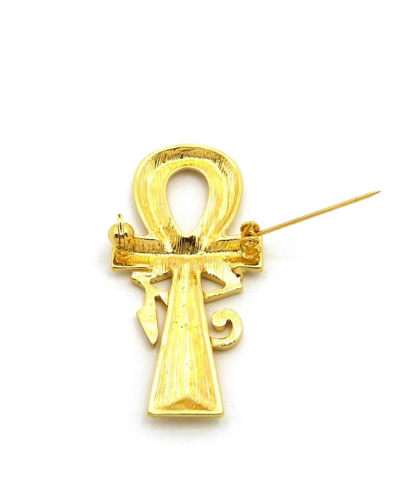 Eye Of Ra Ankh Cross 14k Gold Egyptian African Brooch Pin