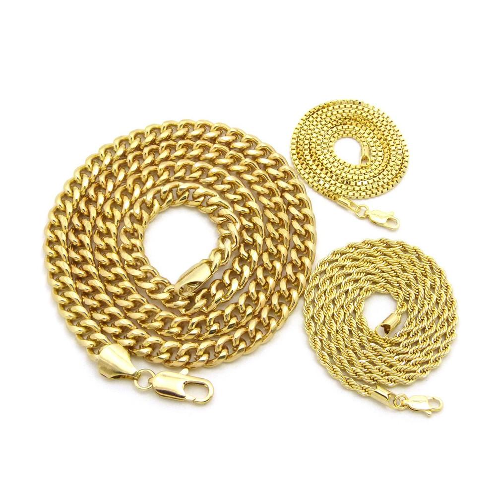 14k Gold 8mm Hip Hop Classic Cuban Link Rope Box Chain Necklace Set