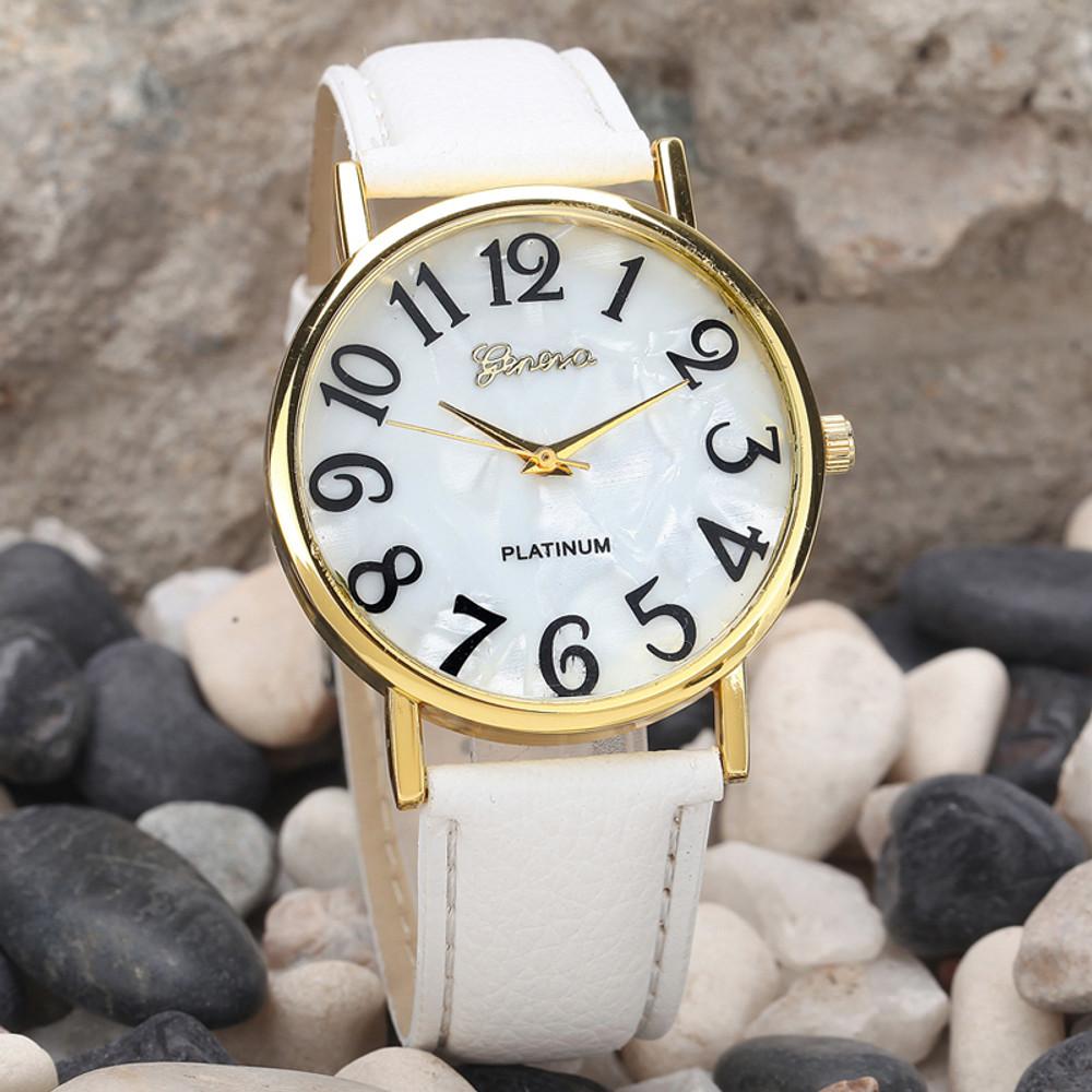 Retro Digital Dial Leather Band Wrist Watch