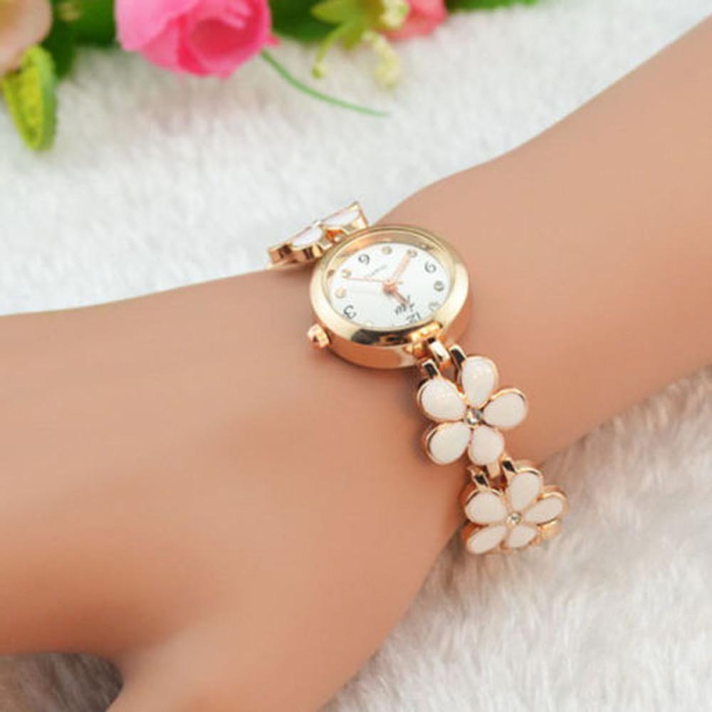 Ladies Fashion Daisies Flower Rose Gold Bracelet Wrist Watch